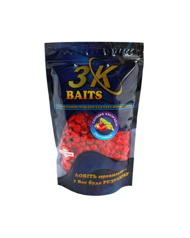 Прикормка 3K Baits кукуруза слад.(клубника)400g