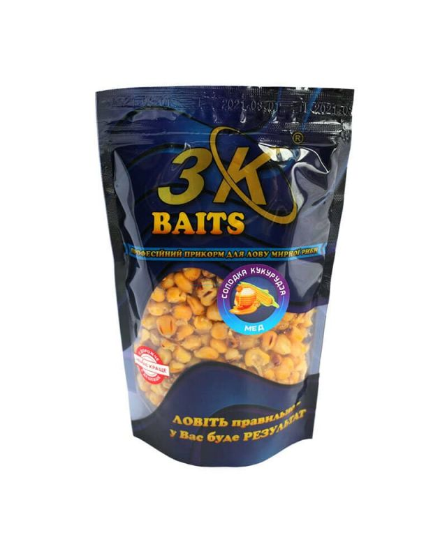 Прикормка 3K Baits кукуруза слад.(мед)400g