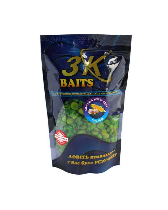Прикормка 3K Baits кукуруза слад.(чеснок)400g